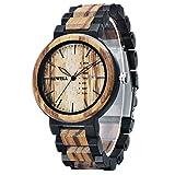 Bewell Mens Watch Wood Handmade Date&Week Display Retro Quartz Movement Ebony and Zebra Wooden Watches