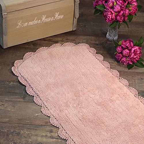 Tapis Façonné, Tapis de Bain à Bordure en Crochet, Tapis pour Salle de Bain Shabby Chic et Romantique - Crochet - 62x110 - Rose poudré - 100% Coton