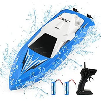 JJRC RC Boats for Pools and Lakes - 2.4Ghz Rechargeable Remote Control Boats Self Righting Radio Controlled Boat with 10km/h High Speed Race Boat Toys Gifts for Kids Adults  Blue