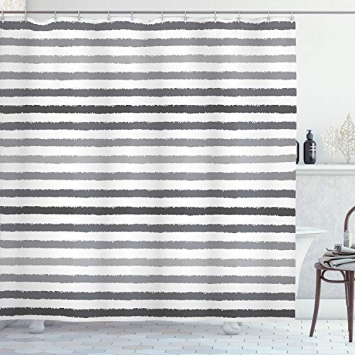 ABAKUHAUS Gestreift Duschvorhang, Grauer und weißer Grunge, mit 12 Ringe Set Wasserdicht Stielvoll Modern Farbfest und Schimmel Resistent, 175x240 cm, Weiß Grau