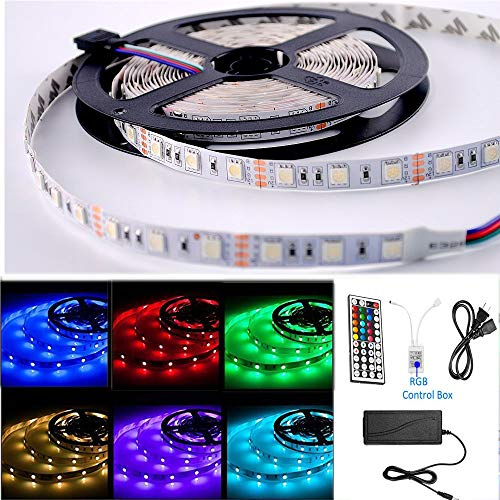 Sumaote LED Strip Kit, RGB Strip Lights with 44Key Remote Controlled, SMD 5050 16.4Ft 300LED Color Changing Rope Light with IR Remote, 12V DC Power Supply for Home,KTV, Hotel, Bar Decoration