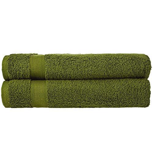 nottoc Toallas de baño de rizo, color verde, juego de 2 toallas de ducha de 70 x 140 cm, 100% algodón, absorbentes, supersuaves toallas turcas