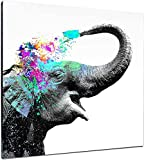 Elephant Wall Decor Decorative Art Canvas Print Modern Artwork Pop Elephant Picture Wrapped Wood Stretcher Bars Ready to Hang For Children Room Kid's Room (28X28IN)