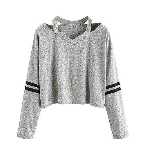Sudaderas Mujer Tumblr Cortas Chica Adolescente Niña - Deportivo Camiseta de Manga Larga con Cuello en V Tops - Modernas Ropa Invierno Otoño 2019