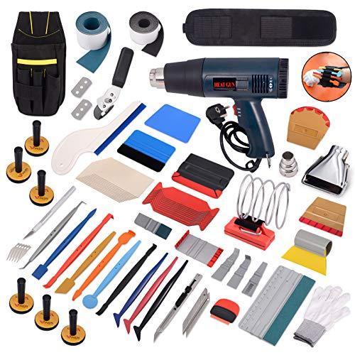 Winjun Profi Car Wrapping Werkzeug Set Heißluftpistole Micro Rakel Folienrakel Folienschneider Werkzeugtasche Magnet Halter Wasserabzieher Handschuhe