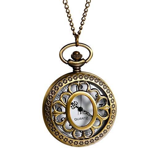 Retro Herren Damen Taschenuhr, LANCARDO Kettenuhr Analog Quarz Sonnenblumen Muster Uhr mit Halskette, Bronze