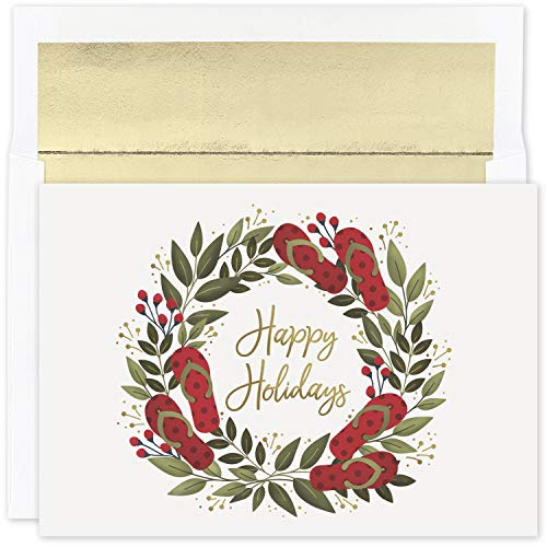 Masterpiece Studios Warmest Wishes 18-Count Boxed Christmas Cards With Foil-Lined Envelopes, 7.8' x 5.6', Flip Flop Holiday