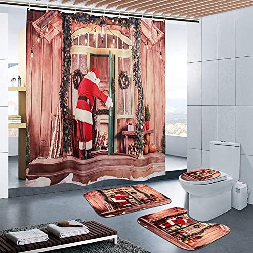 zootop 4Pcs Weihnachts-Duschvorhang-Set, Weihnachtsmann-Muster, wasserdichtes Badezimmer-Duschvorhang-Set, mit rutschfesten Teppichen, Toilettendeckel-Abdeckung, Weihnachts-Badezimmer-Dekor-Sets