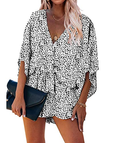 PRETTYGARDEN Women's Fashion Leopard Print Shorts Jumpsuit Wrap V Neck 3/4 Short Sleeve Casual Loose Romper with Pockets (White, Small)