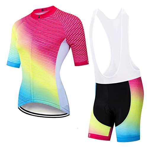 WPW Conjunto de Maillot de Ciclismo para Mujer, Chaqueta de Manga Corta de Jersey de Ciclo Transpirable + Pantalones Cortos Ajustados Acolchados con Cojín 3D (Color : H, Talla : L)