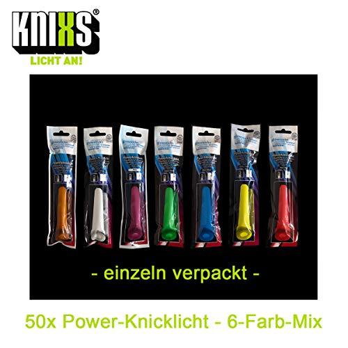 KNIXS - 50x Power Knicklichter, seit 15 Jahren in Profiqualität, deutsche Testnote: 1,4/150 x 15 mm - Leuchtstäbe - 6-Farb-Mix - für Party, Festival, Outdoor oder Notlicht