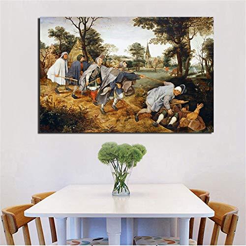 KWzEQ Blind Leader Blind Leinwanddruck Wohnzimmer Dekoration Moderne Hauptwandkunst Ölgemälde,Rahmenlose Malerei,60x90cm
