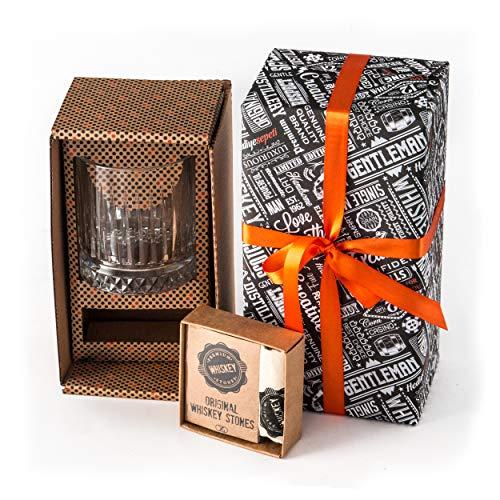Juego de Regalo Whiskey | Vaso de Whiskey Grande Estilo Antiguo | 12 pzas Piedras de Whiskey con Caja de Regalo | Regalo Perfecto para Papá | Mejor Vaso de Whiskey como Regalo para Hombres