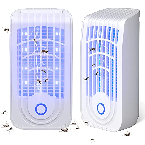 Nuaer Bug Zapper Indoor, 2 Pack Mosquito Zapper, Plugin Mosquito Killer, with 8 UV LED Night Light and Protect Cover Mosquito Light Killer, Non-Toxic Silent Electric Fly Traps for Home, Warehouses
