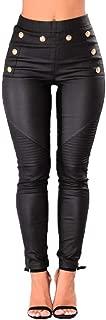 Nihsatin Fishnet Trim Lace Up PU Leather Pants Thin Lightweight Gothic Punk Leggings for Women