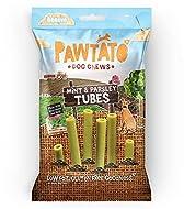 Pawtato Vegan Dog Chews Mint & Parsley Tubes. Natural rawhide alternative dog treat. Low fat, plant ...