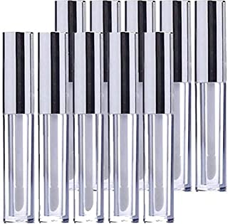 KEAIYYJ 10ml/0.34 oz Lip Gloss Packaging Tubes with Wand Silver Top Plastic Lipstick Tube Empty Container Makeup Reusable Bottle for DIY 10 Pack
