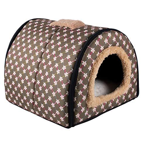 Dololoo Haustierbett für Katzen und Hunde Plüsch Hundebett Katzenbett (S: 35x30x28 cm, Braun) Mehrweg