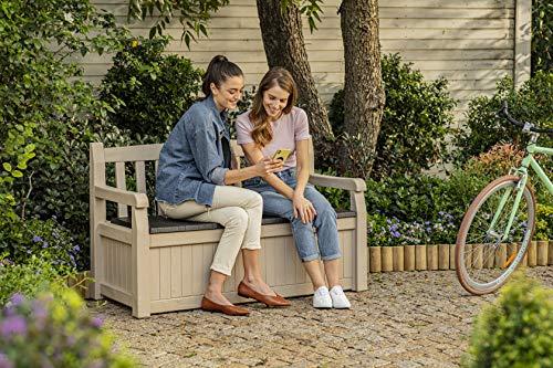Keter Gartenbank 2-Sitzer, Truhenbank Garten Eden, Beige Gartenban mit Truhe, regenfest, 265L - 7