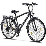 Licorne Bike Life M-V-ATB (Schwarz/Grau) 28 Zoll Herrenfahrrad,Trekking, ATB, CTB ab 160 cm, Fahrrad-Licht, Shimano 21 Gang-Schaltung, Herren-Citybike, Damen-Citybike, Männerfahrrad