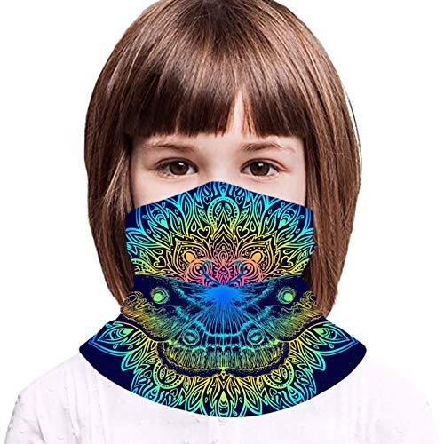 AUHILL Beautiful Mandala Moth Vintage Tattoo Indigo Bavaclava Face Mask for Kids Cooling Neck Gaiter Ice Silk Bandana Cloth Reusable Washable Girls Boys Headband