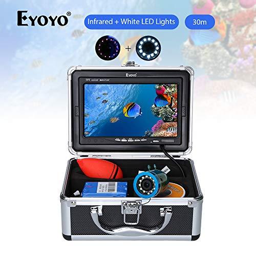 Eyoyo Fischfinder Kamera 30M Unterwasserfischen Fishing Finder mit 7 Zoll IPS Monitor TFT LCD Bildschirm 1000TVL,12 IR + Weiße LED-Lichter Unterwasserkamera Wasserdichte IP68 für See Eisfischen Angeln