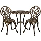 Topeakmart 3 Piece Outdoor Bistro Set, Aluminum Patio Table Sets Outdoor Furniture with Umbrella Hole for Yard Balcony, Bronze