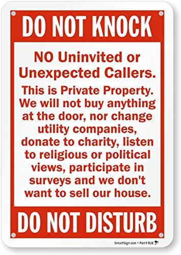 POLITE NO CALLERS COLD CALL DOOR SIGN DO NOT DISTURB DO NOT KNOCK