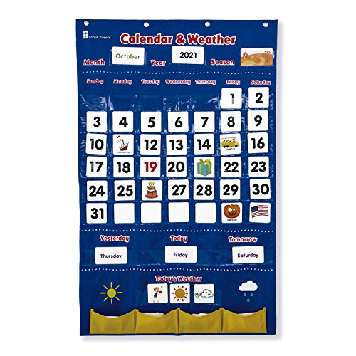 Calendar and Weather Pocket Chart for Kids Learning from Home and School, Homeschooling or Classroom for Teachers, Essential for Helping Young Students - Learn Tower