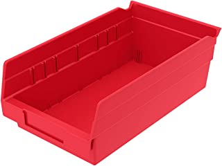Akro-Mils 30130 Plastic Nesting Shelf Bin Box, (12-Inch x 6-1/2-Inch x 4-Inch), Red, (12-Pack)