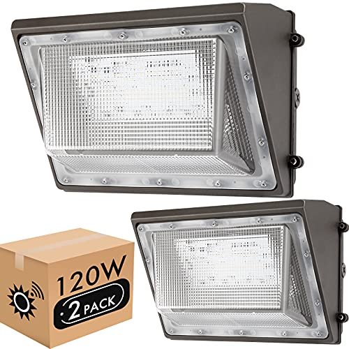 Lightdot 2 Pack 120W LED Wall Pack Lights with Photocell, 13200 LM (700W HPS/HID Equivalent), Daylight 5000K, IP65, Bright Outdoor Commercial and Flood Security Lighting