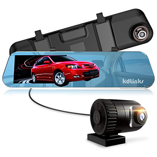 """KDLINKS R100 Ultra HD 1296P Front + 1080P Rear 280° Wide Angle Anti-Glare Rearview Mirror Dual Lens Dash Cam with IPS 5"""" Screen, Superior Night Mode, Advanced Dashcam Parking Mode, Support 64/128GB"""