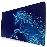 マウスパッド 大型 ゲーミング デスクマット 飛べる 青い光 ユニコーン かわいい 防水性 耐久性 滑り止め 多機能 超大判 40cm×75cm