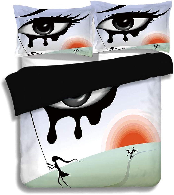IPrint Black Duvet Cover Set Queen Size,Eye,Surreal Avant Garde Art Composition Girl Runs with Eye Stick Tears Sunset Dog Image Decorative,Multicolor,Decorative 3 Pcs Bedding Set by 2 Pillow Shams
