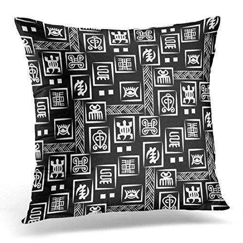 Funda de almohada africana Adinkra blanco y negro con símbolos rituales digitales y pantalla de naciones y tribus Akans de Ghana, funda de almohada decorativa cuadrada de 45,7 x 45,7 cm