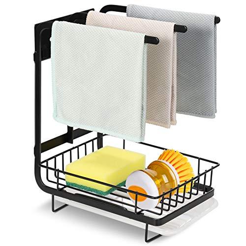 Sponge Holder with Drain Pan Kitchen Sink Organizer Kitchen Counter Organizer Sponge Brush Soap Dish Dishcloth Rack Sink Caddy Holder Sink Tray Soap Holder
