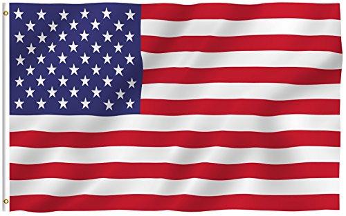 طلب Anley Fly Breeze 3x5 Foot American US Flag - Vivid Color and UV Fade Resistant - Canvas Header and Double Stitched - USA Flags Polyester with Brass Grommets 3 X 5 Ft