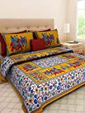 Xtore Traditional Jaipuri Print Bed Sheet with 2 Pillow Covers (100% Cotton) - Premium Quality - 90 x 105 inches