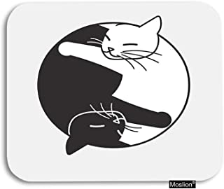 Moslion Cat Mouse Pad Cute Animal Sleeping Cats Hug in Circle Gaming Mouse Pad Rubber Large Mousepad for Computer Desk Laptop Office Work 7.9x9.5 Inch Black White Grey