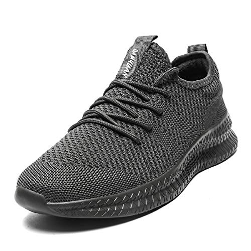 CAIQDM Mens Running Tennis Shoes Casual Fashion Sneakers Outdoor Non Slip Gym Athletic Sport Shoes Grey