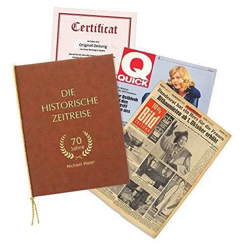 HISTORIA Historische Zeitung als Geschenkidee zum 70. Geburtstag: Zeitung vom Tag der Geburt inkl. Mappe mit Ihrer Personalisierung