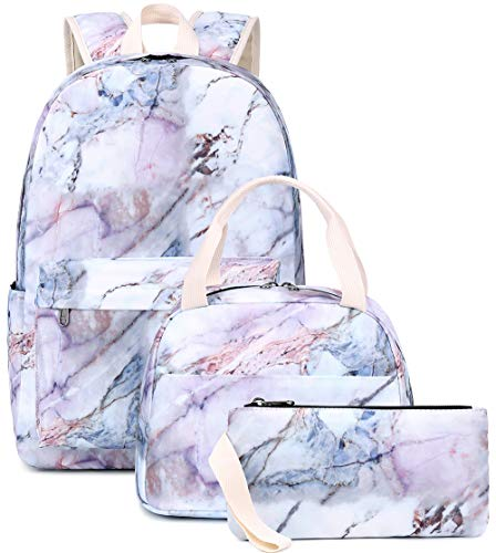 BLUBOON Teen Girls School Backpack Kids Bookbag Set with Lunch Box Pencil Case Travel Laptop Backpack Casual Daypacks (White)