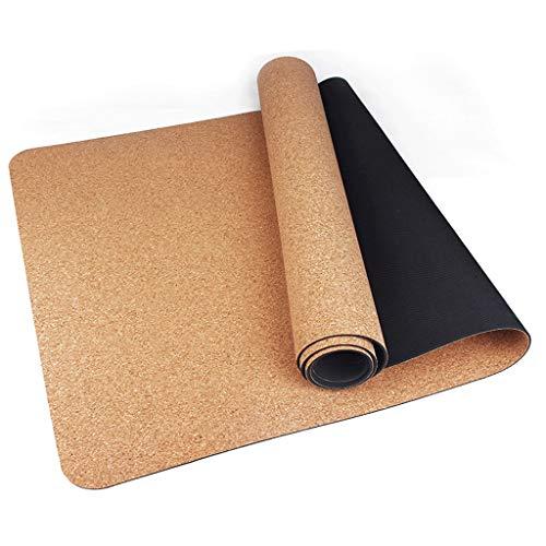 JT- Corcho Natural Yoga Mat Yoga Mat Antideslizante Mat TPE4mm la Estera del Piso Home Fitness Fácil de almacenar (Color : Wood Color, Size : 4mm)