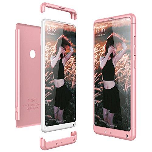 CE-Link Funda Xiaomi Mi Mix 2S Carcasa Fundas para Xiaomi Mi Mix 2S 360 3 en 1 Desmontable Ultra-Delgado Anti-Arañazos Case Protectora - Oro Rosa