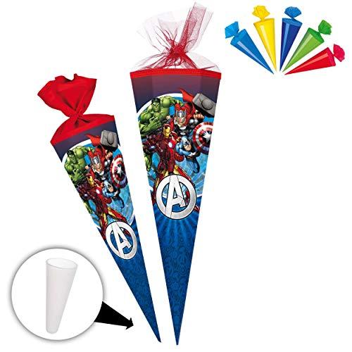 alles-meine.de GmbH Set _ Schultüte + 5 kleine Zuckertüten -  The Avengers - Assenble Avenger  - 85 cm - eckig - Tüllabschluß - Zuckertüte - mit / ohne Kunststoff Spitze - Nest..