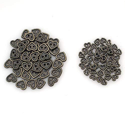 Wfeiyanton ミニチュア ハートボタン メタル ボタン 2つ穴 2サイズ 4mm 7mm 各50個 セット ドールメイキング パーツ ミニボタン ドール人形 ぬいぐるみのため ドール服 縫製材料 (ブロンズ)