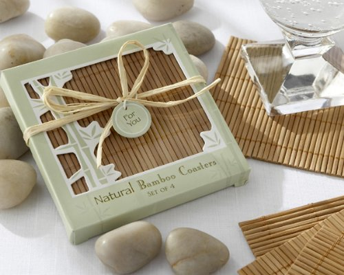 Natural Bamboo Eco-Friendly Coaster Favors (Four Coasters per Favor!) - Baby Shower Gifts & Wedding Favors (Set of 12)