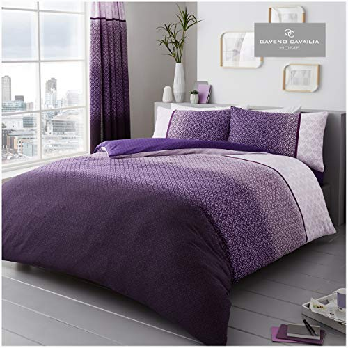 Gaveno Cavailia Luxury URBAN OMBRE Bed Set with Duvet Cover and Pillow Case, Polyester-Cotton, Purple, King