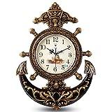 ZXCVBN Reloj De Pared Europeo/Reloj De Timón Grande Silencioso Creativo/Reloj De Pared Retro De Cuarzo 16 Pulgadas Decorativo (Color : Bronce)
