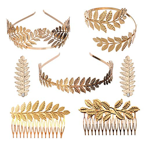 YallFF Greek Roman Laurel Leaf Bracelet Armband Golden Laurel Leaves Crown Tiara Costume Greek Goddess Headband Hair Comb Bridal Wedding Headpiece Hair Accessories